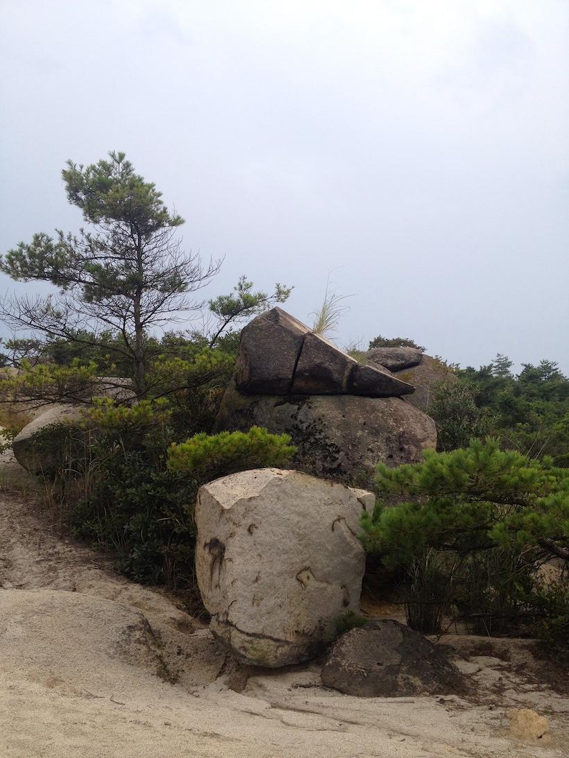 この3つに且つ斜めに切り裂かれた石など、不思議な造形の石も多数。