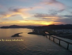[...from the sky... ]仁淀川の向こうに夕陽が沈む