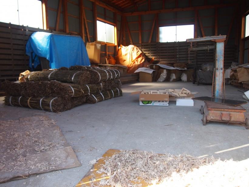 原料を保管する倉庫。